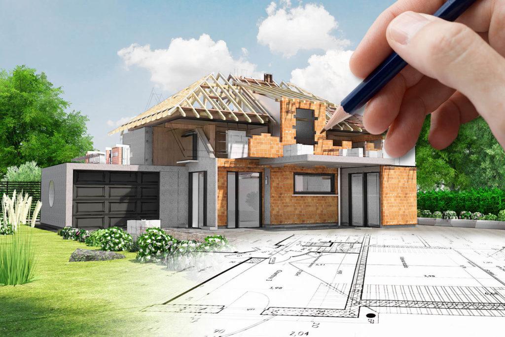 Een foto van een huis volgens de traditionele bouwmethode.